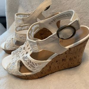 American Eagle White Lace Detail Wedge Shoes